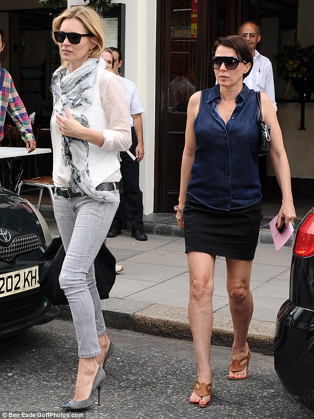 Ladies who lunch: A chic-looking Kate Moss and Sadie Frost leave a Greek restaurant in north London this afternoon after a bite to eat