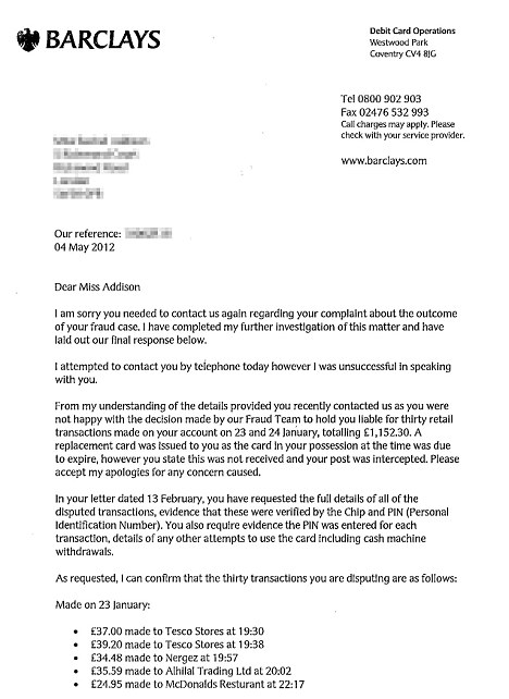 Error: A letter sent to Rachel accusing her being negligent with her PIN