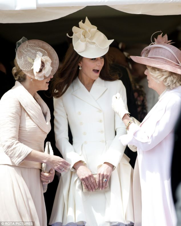Sharing a joke: The Duchess of Cornwall, known for her great sense of humour, entertains Kate and Sophie Wessex as they enjoy the procession