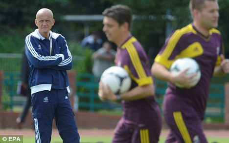 Refs' chief: Pierluigi Collina (left) at a training session for officials appointed for Euro 2012 knockout matches at Agrykola Stadium in Warsaw on Wednesday