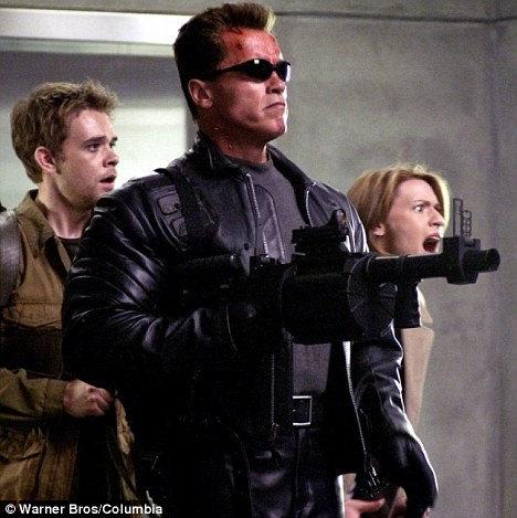 Clean shaven: The actor in the 2003 film Terminator 3