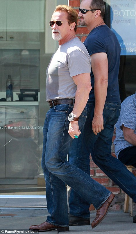 Biker: It appears that 64-year-old Schwarzenegger is continuing to develop his bad-boy biker style