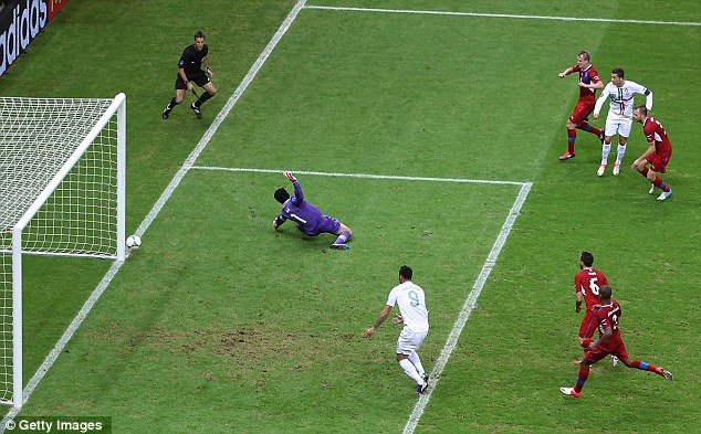 Frustration: Cristiano Ronaldo sees his shot crash against the post following some fantastic footwork
