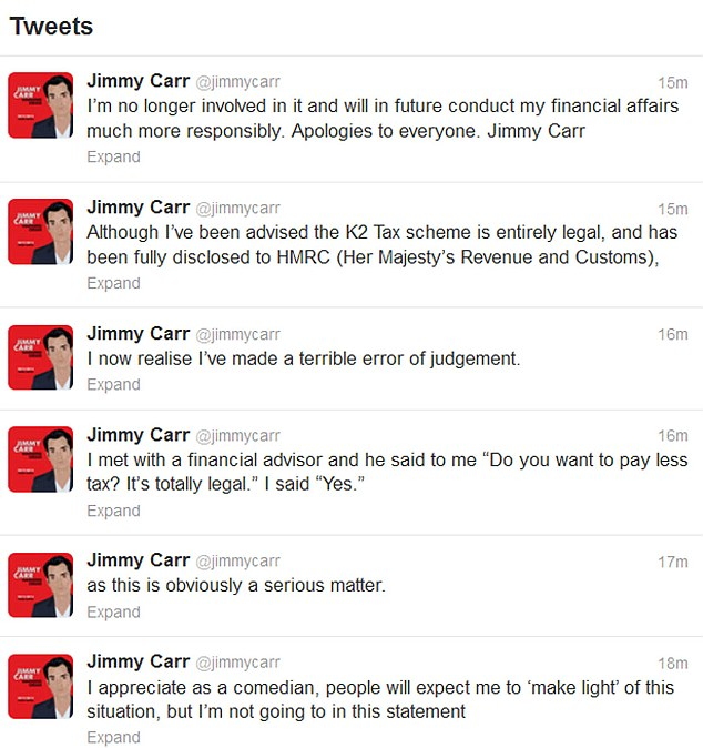 Apology: Jimmy car issues an apology on Twitter today and says he is no longer involved in the K2 tax scheme