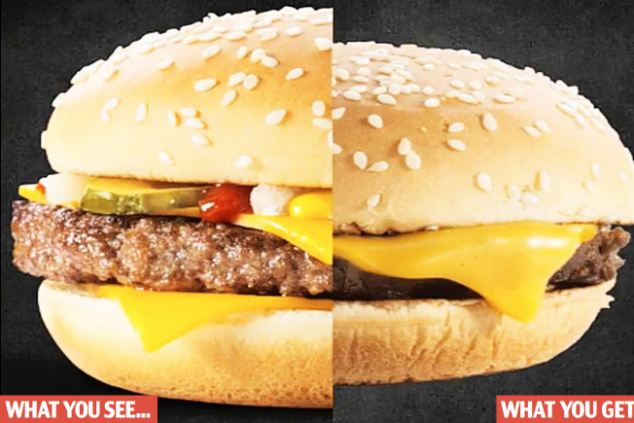Reality check: A photo showing half a store bought McDonald's burger and one created for advertising purposes