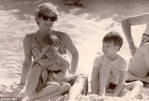Looking after her sons: Diana with William and Harry on holiday in the Virgin Islands in 1990. Harry will inherit his half of the trust fund when he turns 30 in 2014