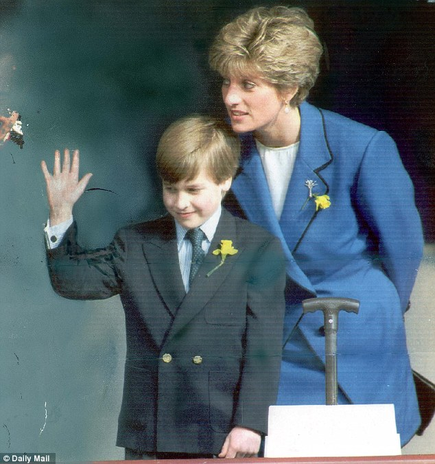 Bequeathed estate: Prince William embarks on his first official engagement with his mother in Cardiff in 1991. The current value of Diana's trust fund for her sons is estimated at £20million