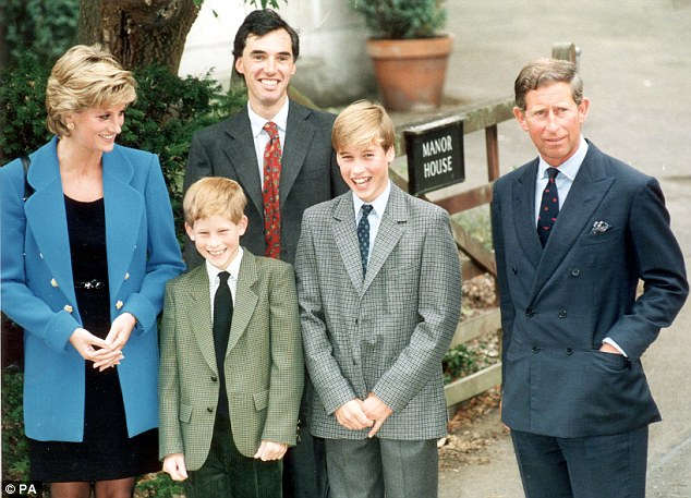 Coming of age: Harry and William with their parents and housemaster Dr Andrew Gailey on William's first day at Eton College in 1995. The princes were 15 and 12 when their mother died two years later