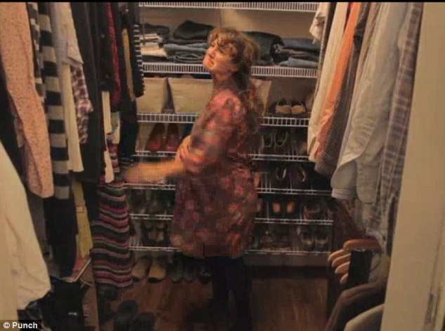 Unhappy: Jessica is seen beating her clothing collection as she complains that her home is not big enough