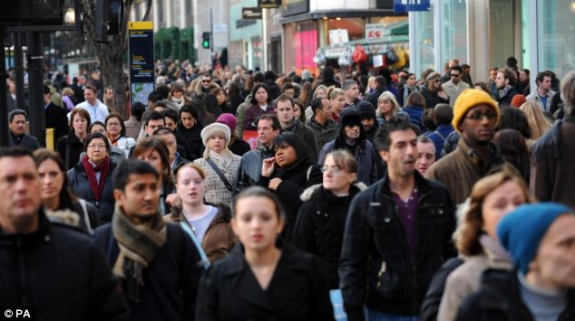 Crammed: The population of the most crowded parts of Britain soared between 1997 and 2010, with the London population rising by 11.6% in 13 years