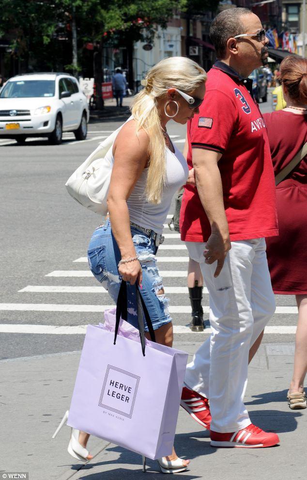 New wardrobe item: The couple visited Herve Leger store - the designer is famed for his figure-hugging bandage dresses