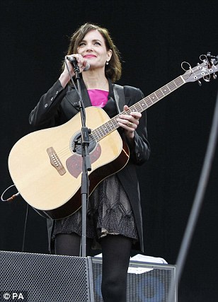 What WOULD her Ladyship say? Elizabeth McGovern performs with Big Country on the Main Stage at the Isle of Wight Festival