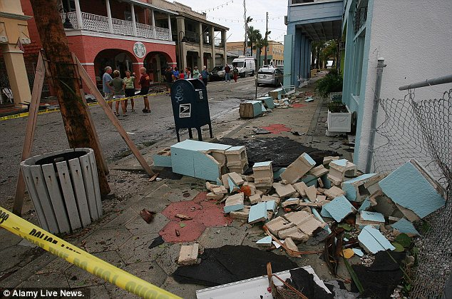 Damage: The aftermath of a tornado spawned by Tropical Storm Debby is seen in St. Pete Beach, Florida