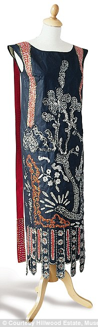 Lanvin Dress based on 1924 period in spirit of Chinese prints and lacquers, diamanté and bead embroidery effect in pain
