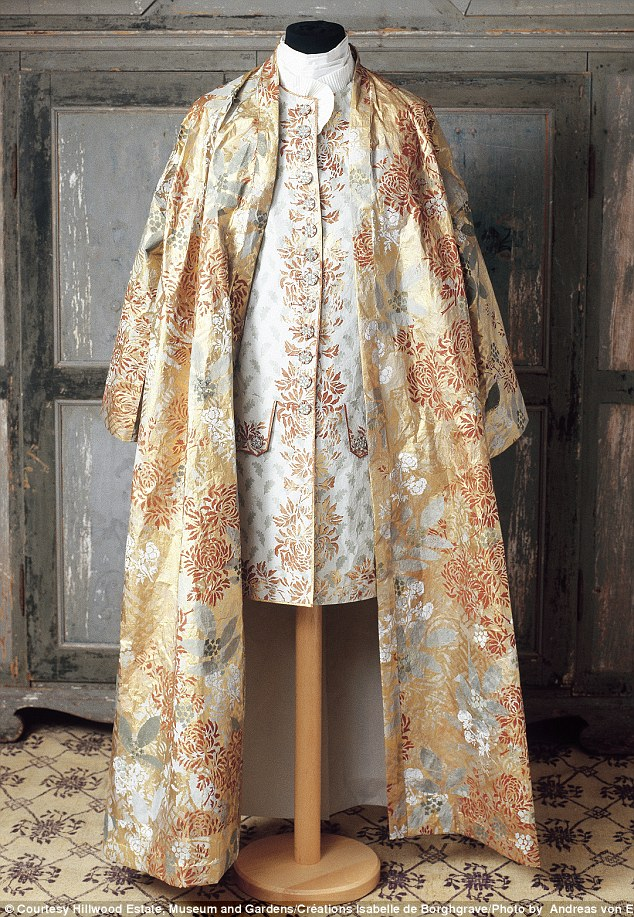 Regal: A Pierre le Grand dress based on a 1730 design stands in the museum that was once the house of Marjorie Merriweather Post, an American socialite and millionaire