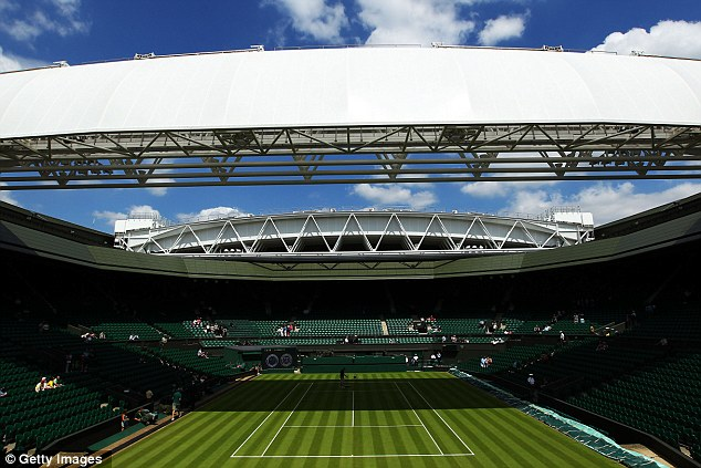 Clear: Skies over Centre Court were clear of aircraft today after a no-fly zone was put into place over Wimbledon