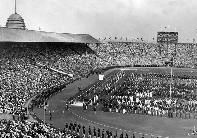 Then and now: The 1948 London Olympics (above) were a far cry from the excesses of the 2012 Games (below)