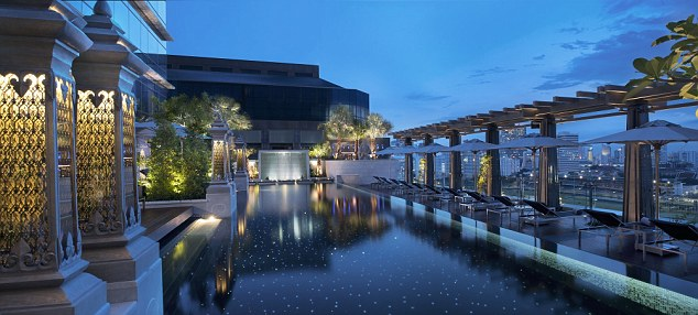 The stunning rooftop pool at the St Regis Bangkok