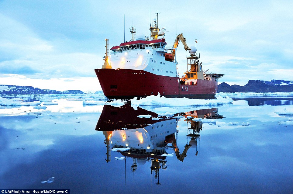 Picture perfect: The HMS Protector is photographed off James Ross Island, near the northeastern extremity of Antarctic Peninsula, in one of many eye-catching pictures by LA (Phot) Arron Hoare