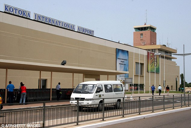 Seized: The family was stopped at the airport in Accra, Ghana, pictured, as they tried to leave with the children