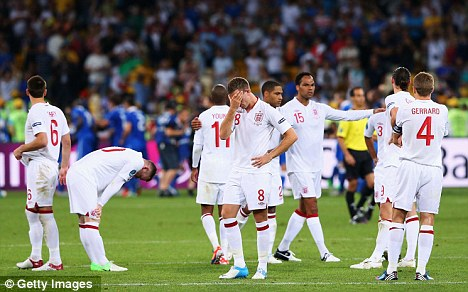 Painful: Jordan Henderson (centre) was brought on against Italy, not Jones