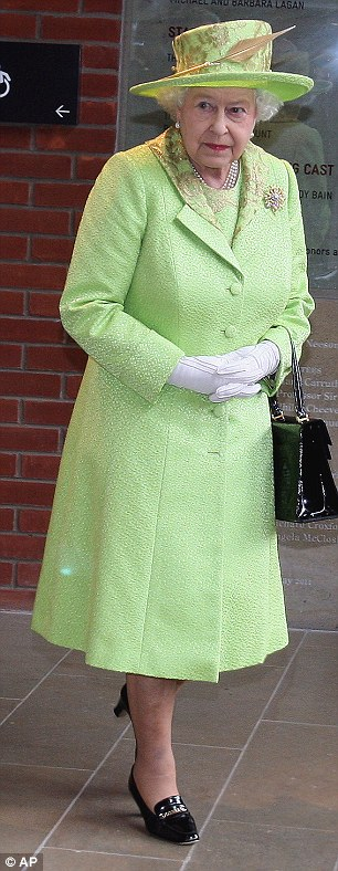 Greenpeace: The Queen chose an apple-green coat, dress and hat designed by Angela Kelly when she arrived in Belfast to meet former IRA commander Martin McGuinness today