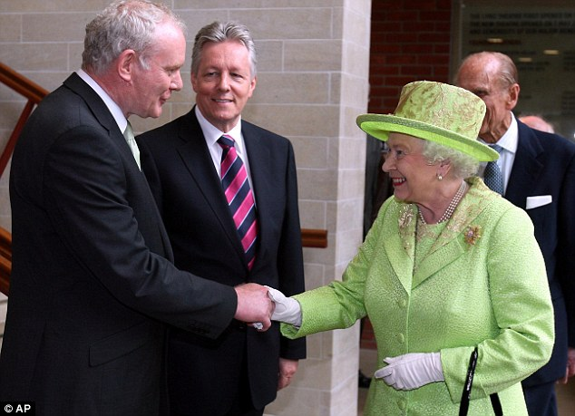 On her coat the Queen pinned the Frosted Sunflower brooch, another nod to the purpose of her visit to Ireland given the sunflower's association as a symbol of peace