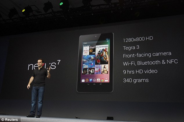 Future: Hugo Barra, director of product management of Google, shows off Google's new Nexus 7 tablet