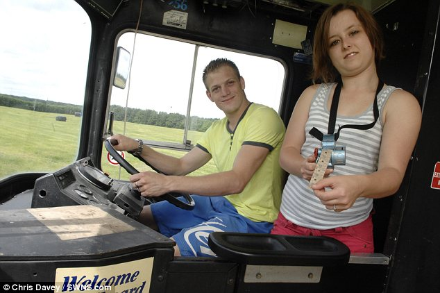 Road to happiness: Daniel hopes to have his bus driver¿s licence by August so that he and Stacey, who works at Whitstable bowling alley, can take a trip to Cornwall where he grew up
