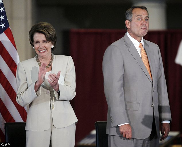 Outlook: House Speaker John Boehner (right) and House Minority Leader Nancy Pelosi (left) are seen together on Wednesday a day before historic U.S. decisions are to be made