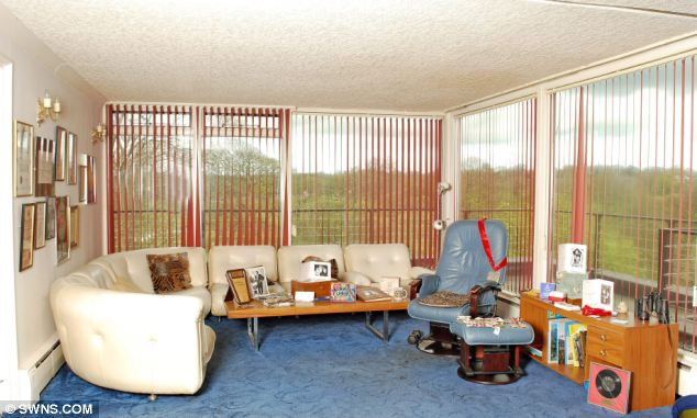Plush: Sir Jimmy's living room at his penthouse apartment in Roundhay Park, Leeds