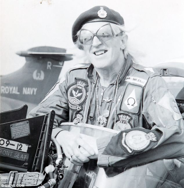 Always smiling: A picture of  Sir Jimmy wearing his military flight suit with various regimental badges sewn on