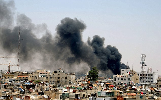 Bomb: A huge blast near a busy Damascus market and Syria's highest court today wounded at least three people and sent clouds of black smoke into the sky