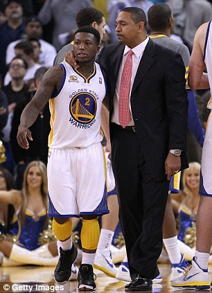 NBA star: Mark Jackson (left) when he played for the Toronto Raptors in 2001 and right, earlier this year as Golden State Warriors coach