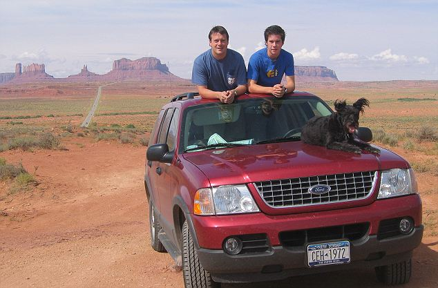 Younger days: Fiinn on a USA road trip with Toby's brother William in 2003