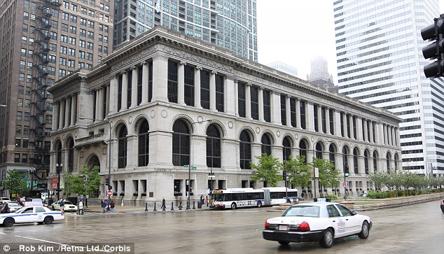 Alias: Plascencia is alleged to have sent some of the messages from Chicago Public Library, pictured, using different email addresses