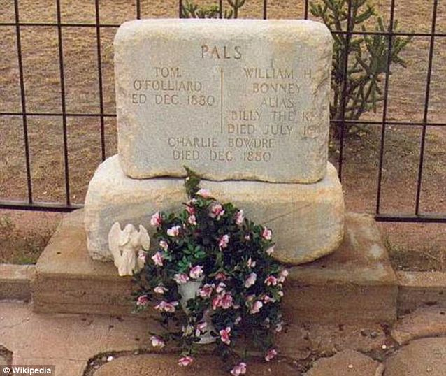 Before: The Billy the Kid tombstone prior to the vandalism earlier this month