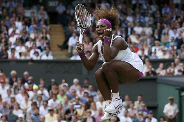 Jumping for joy: Serena Williams celebrates reaching the last 16 at Wimbledon