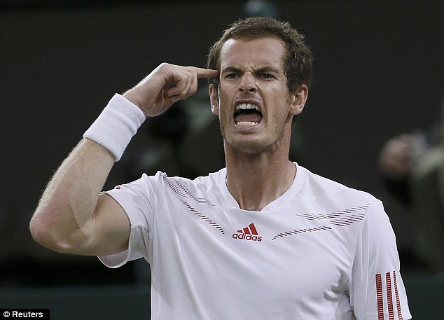 Think about it! Murray tries to get himself in gear as he wins the third set against Baghdatis