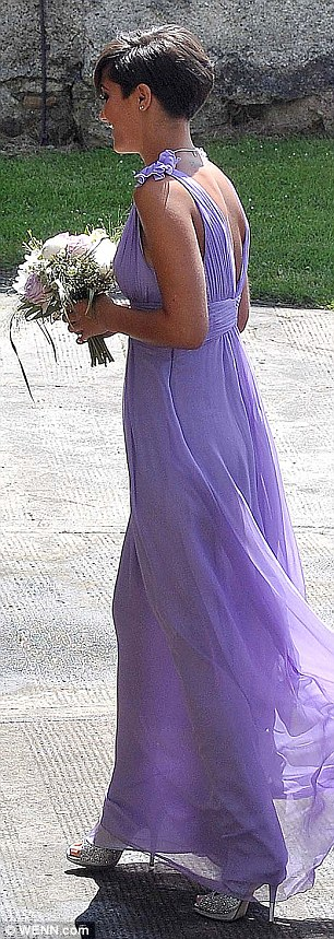 Marvin Humes looked dapper as he arrived at the church for the wedding of Una Healy and Ben Foden while bridesmaid Frankie Sandford was stunning in lilac