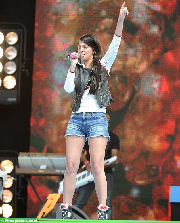 Ditching the dresses: Tulisa was a fan favourite as she sang her track Young for the excited audience