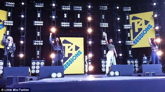 Preparations in place: The girls' uploaded a picture of themselves during sound check before they hit the stage