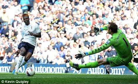 Hinged: Emmanuel Adebayor could make way for Van Persie at City