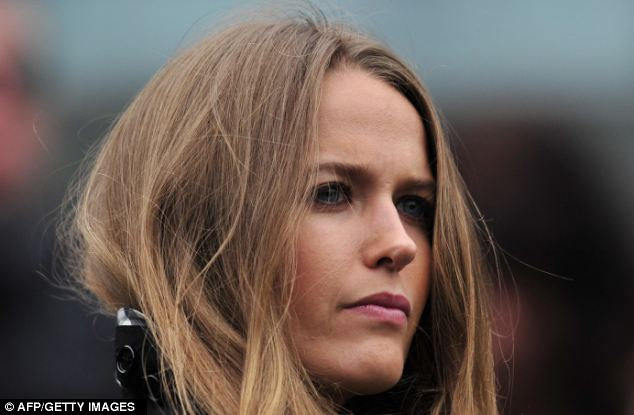 Biggest fan: The 25-year-old's girlfriend Kim Sears watches him play on Court One during the seventh day of the championships