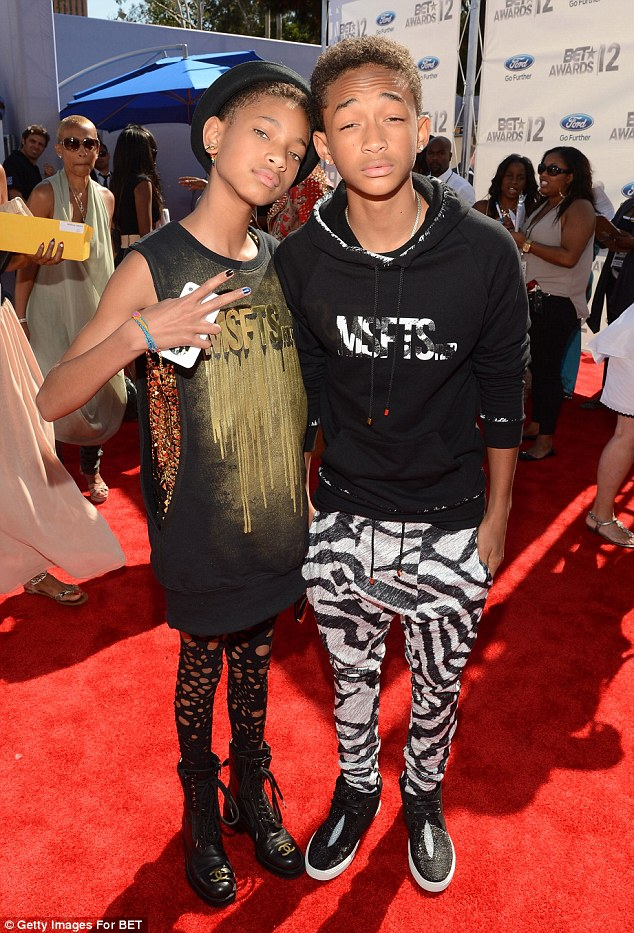 Following in their famous parents footsteps: Willow Smith and brother Jaden posed without Will and Jada