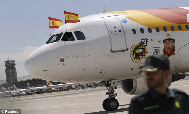 Pride: The plane taking the players back home had two national flags up front