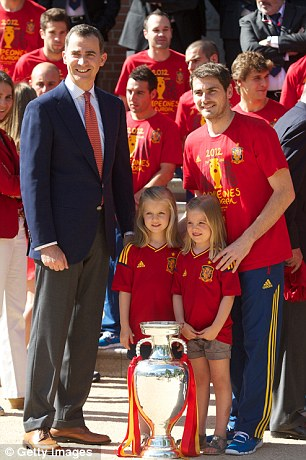 King of Cups: Prince Felipe, Princess Leonor and Princess Sofia gave the personal touch to the celebrations, while Iker Casillas and the rest of his squad were later swamped by the public