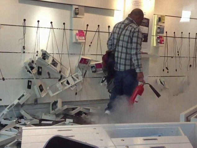 Overturned furniture: The man was reportedly unhappy at being refused a refund on his phone