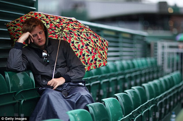 Could be waiting a while: One spectator waits out in the rain in the hopes the game will be resumed