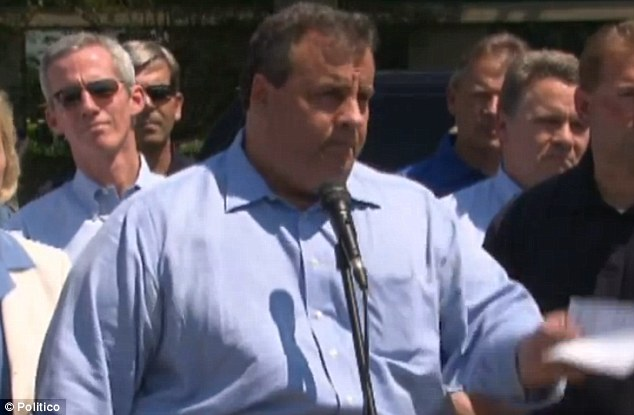 Not amused: Christie gestures at the reporter who dared to stray off the topics that had been approved at the press conference